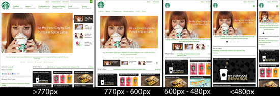 Starbucks responsive website voorbeeld