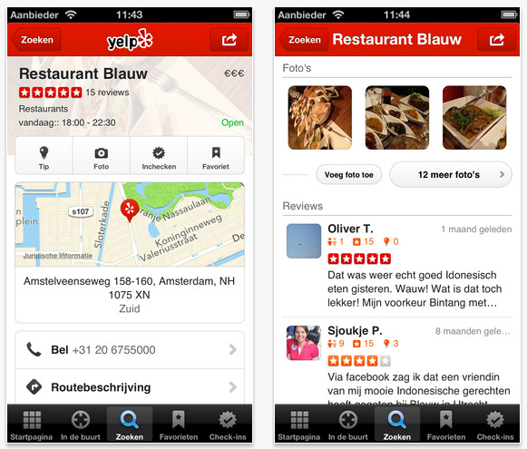 Yelp app op de iPhone
