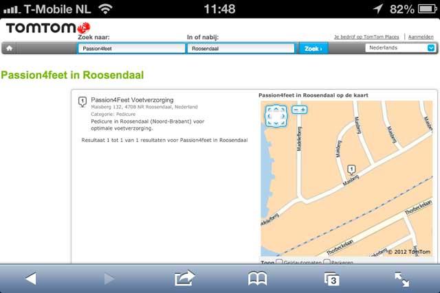 Pedicure Roosendaal op de kaart bij TomTom