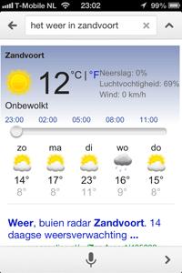 Het weer in Zandvoort