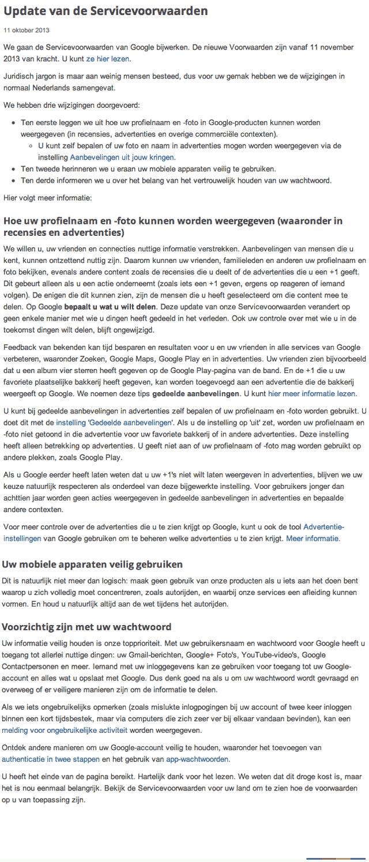 Google Servicevoorwaarden per 11 november 2013