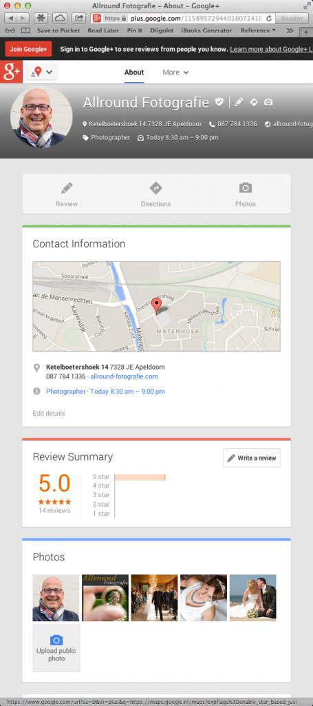 Google+ met 1 kolom