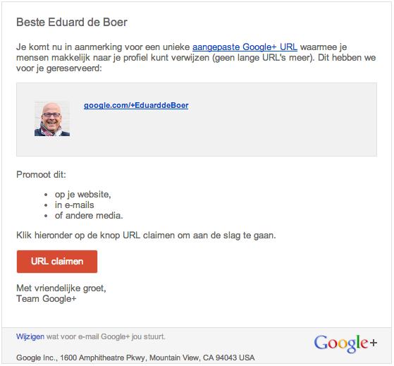 Google+ vanity URL instellen