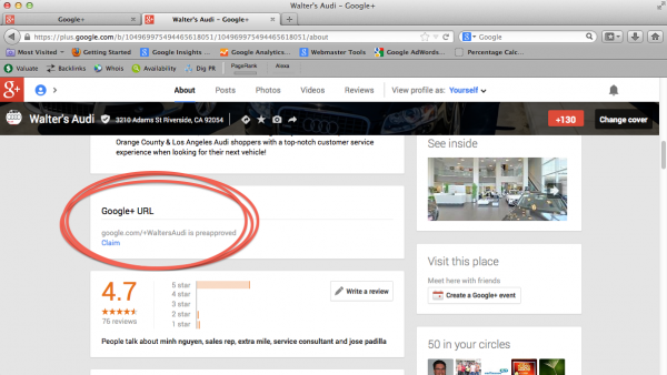 Google+ Vanity URL Feature