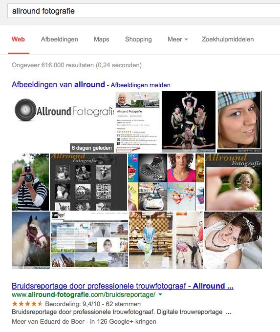 Meer afbeeldingen in Google zoekresultaten
