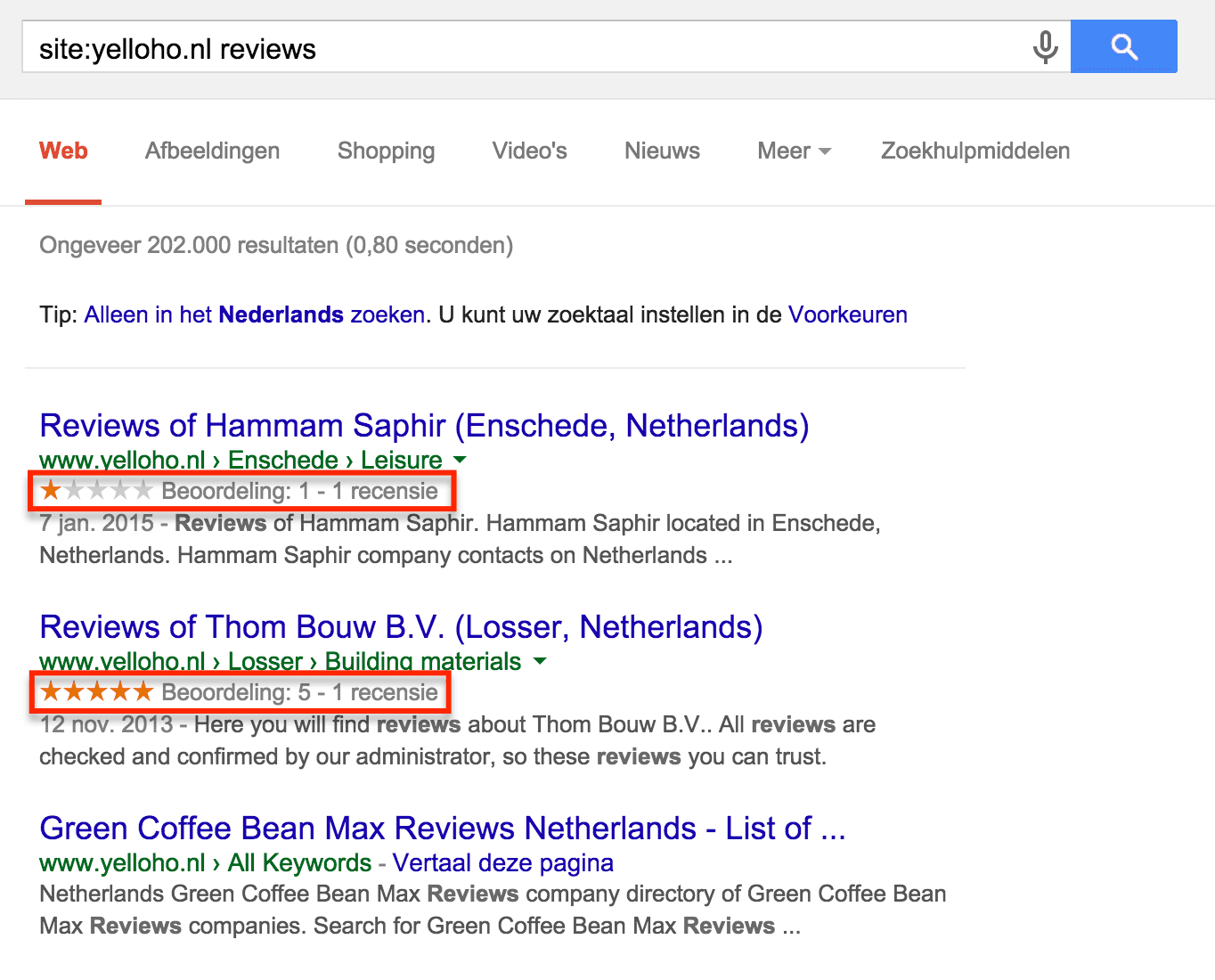 Reviews op yelloho.nl