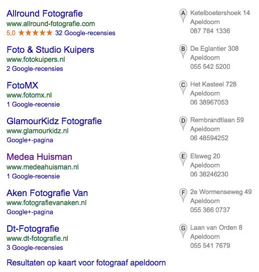 Het oude 7-pack in de lokale resultaten op Google