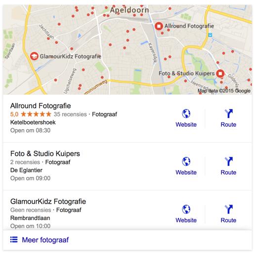 """Het nieuwe """"Snack Pack"""" in de lokale resultaten in Google"""