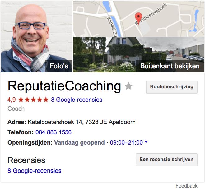 8 reviews voor de ReputatieCoach