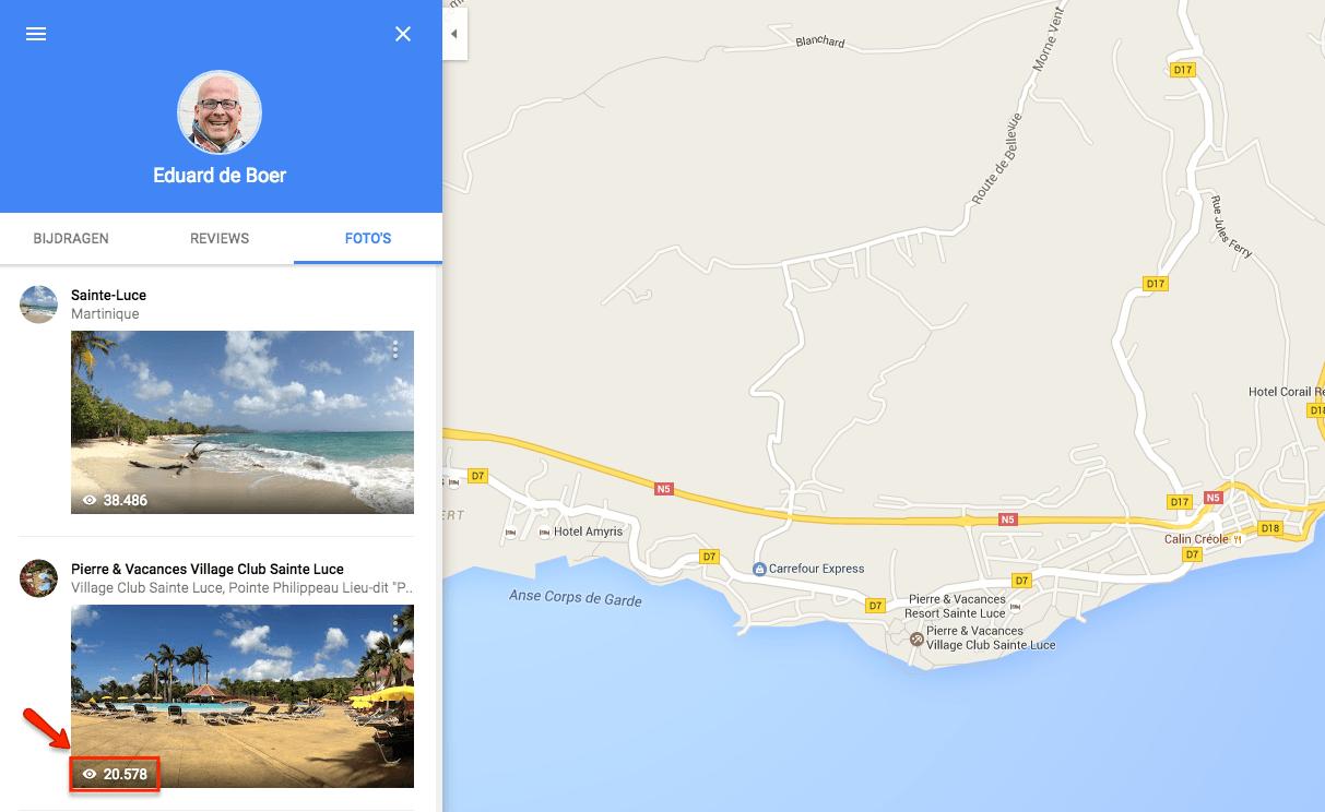 Update aantal weergaven van de foto's op Google Maps