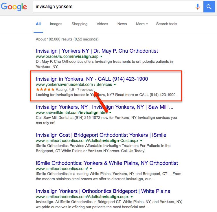 Reviewsterren in de zoekresultaten